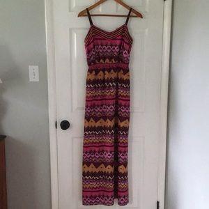 EUC LOFT tribal print maxi dress with side slit